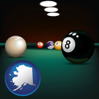 alaska map icon and a billiards table at a recreation facility