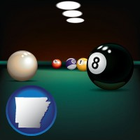arkansas map icon and a billiards table at a recreation facility