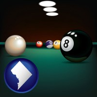 washington-dc map icon and a billiards table at a recreation facility