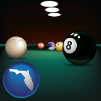 florida map icon and a billiards table at a recreation facility