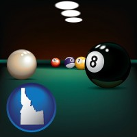 idaho map icon and a billiards table at a recreation facility