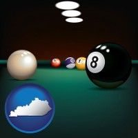 kentucky map icon and a billiards table at a recreation facility