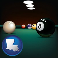 louisiana map icon and a billiards table at a recreation facility