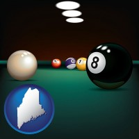 maine map icon and a billiards table at a recreation facility