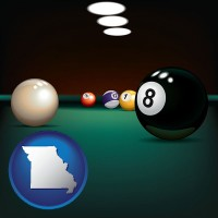 missouri map icon and a billiards table at a recreation facility