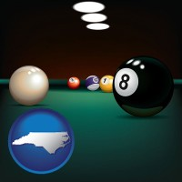 north-carolina map icon and a billiards table at a recreation facility