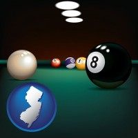 new-jersey map icon and a billiards table at a recreation facility