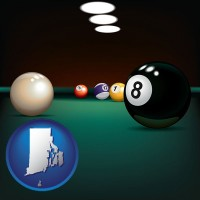 rhode-island map icon and a billiards table at a recreation facility