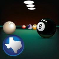 texas map icon and a billiards table at a recreation facility