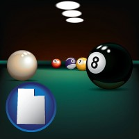 utah map icon and a billiards table at a recreation facility