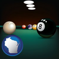 wisconsin map icon and a billiards table at a recreation facility