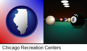 Chicago, Illinois - a billiards table at a recreation facility