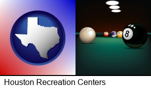 Houston, Texas - a billiards table at a recreation facility