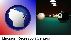 a billiards table at a recreation facility in Madison, WI