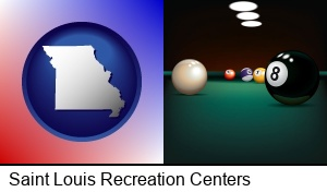 a billiards table at a recreation facility in Saint Louis, MO